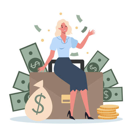 Business person with money. Happy successfull woman with a bag