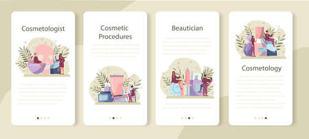 Cosmetologist mobile application banner set, skin care and treatment.