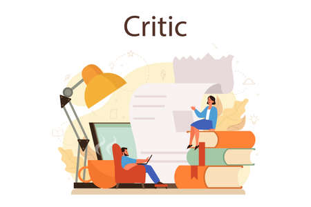 Professional critic concept. Journalist making review and ranking food Vettoriali