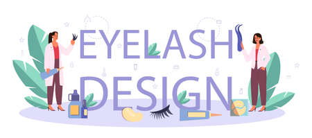 Lashmaker typographic header concept. Beauty center procedur. Female character puting fake eyelashes in salon. Isolated vector illustration  イラスト・ベクター素材