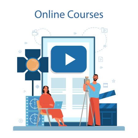 Video production or videographer online service or platform. Movie and cinema industry. Online video editing course. Isolated vector illustration Vettoriali