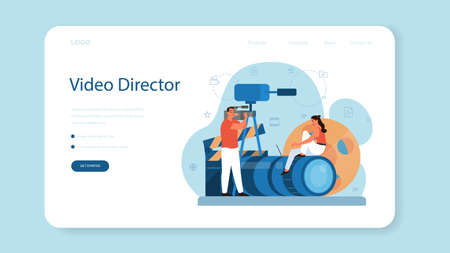 Video production or videographer web banner or landing page. Movie and cinema industry. Making visual content for social media with special equipment. Isolated vector illustration Vettoriali