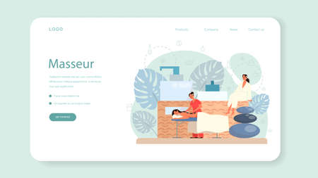 Massage and masseur web banner or landing page. Spa procedure in beauty salon. Back treatment and relaxation. Person on table and therapist. Isolated flat illustration