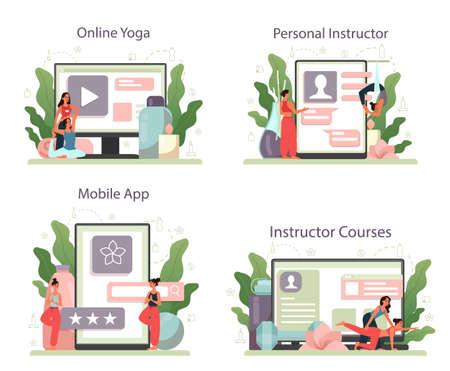 Yoga instructor online service or platform set. Asana or exercise Illustration