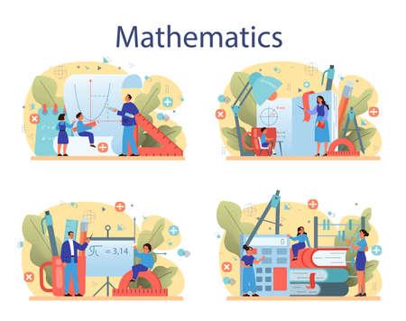 Math school subject set. Learning mathematics, idea of education and knowledge. Science, technology, engineering, mathematics education. Isolated flat vector illustration
