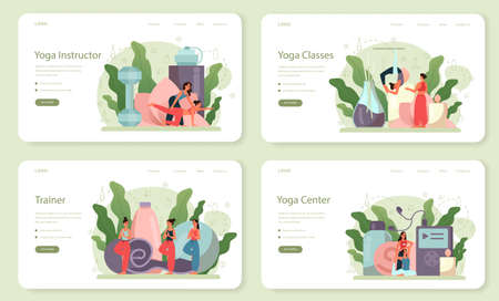 Yoga instructor web banner or landing page set. Asana or exercise