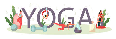 Yoga typographic header concept. Asana or exercise for Illustration
