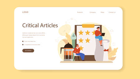 Professional critic web banner or landing page. Journalist making review and ranking food and literature. Creative hobby or profession. Flat vector illustration