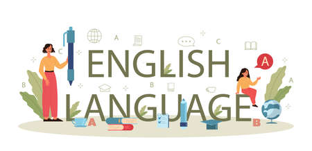 English class typographic header concept. Study foreign languages Illusztráció