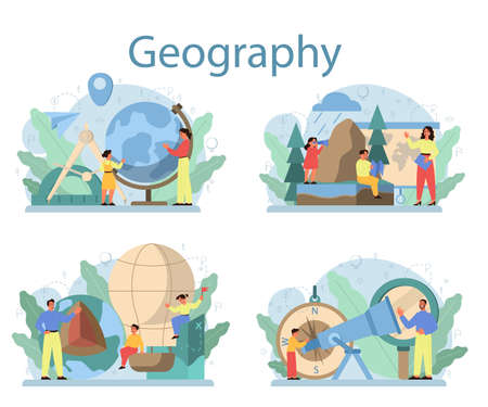 Geography class concept set. Studying the lands, features, inhabitants Çizim