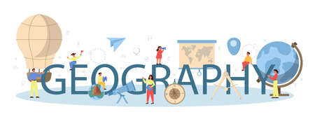 Geography class typographic header concept. Studying the lands,