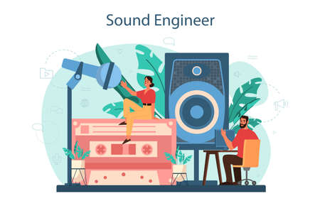 Sound engineer concept. Music production industry, sound recording studio equipment. Creator of a movie soundtrack. Vector illustration in cartoon style