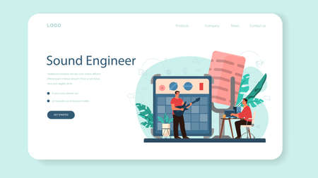Sound engineer web banner or landing page. Music production industry, sound recording studio equipment. Creator of a movie soundtrack. Vector illustration in cartoon style Vettoriali