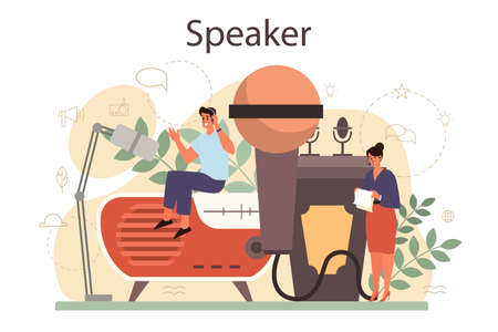 Professional speaker, commentator or voice actor concept. Peson speaking to a microphone. Broadcasting or public address. Business seminar speaker. Isolated vector illustration