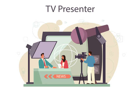 TV presenter concept. Television host in studio. Broadcaster speaking
