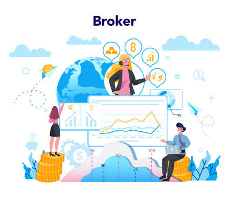 Financial broker. Income, investment and saving concept. Business