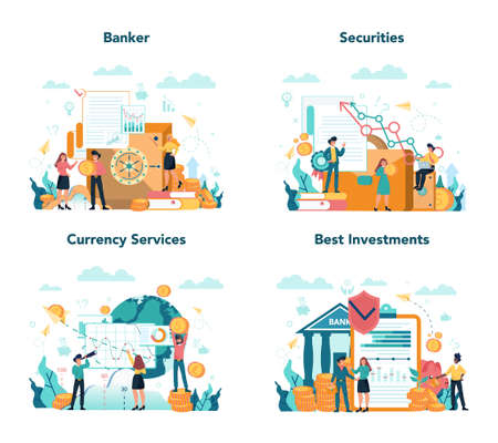 Banker or banking concept set. Idea of finance income, money saving