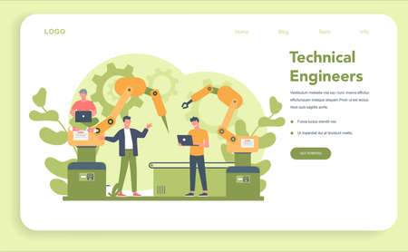 Engineering web banner or landing page. Technology and science.