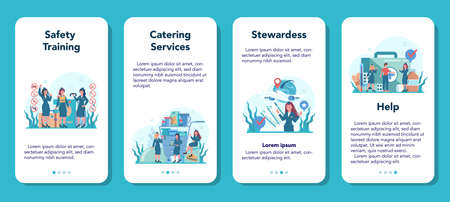 Stewardess mobile application banner set. Beautiful female flight attendants help passenger in airplane. Travel by aircraft. Idea of professional occupation and tourism. Vector illustration