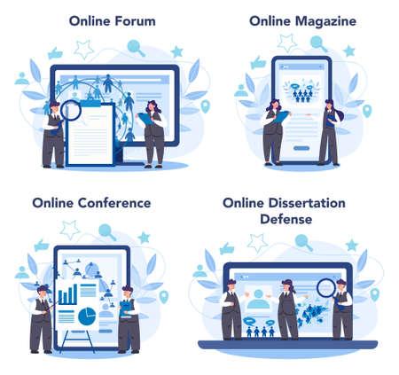Sociologist online service or platform set. Scientist study of society, Stock Illustratie