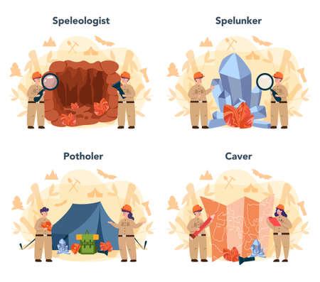 Speleologist concept set. Scientst exploring deep cave with