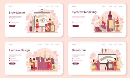Eyebrow master and designer web banner or landing page set. Master making perfect brow. Idea of beauty and fashion. Eyebrow shaping specialist. Beauty routine concept. Flat design, vector illustration