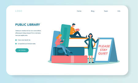 Librarian web banner or landing page. Library staff holding