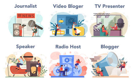 Journalist concept set. Newspaper, internet and radio journalism. TV reporter , video blogger, radio host, speaker. Mass media profession. Vector illustration in cartoon style