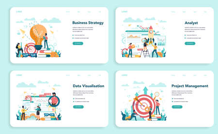 Business analyst web banner or landing page set. Business strategy and project management. Optimization and progress. People working with graph and diagram. Isolated flat vector illustration Ilustracja