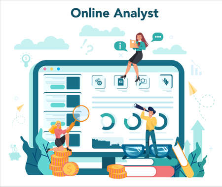 Online business analyst concept. Business strategy and project management. Optimization and progress. People working with graph and diagram. Isolated flat vector illustration Ilustracja