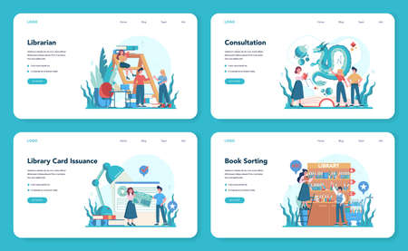 Librarian web banner or landing page set. Library staff holding and sorting book. Knowledge and education idea. Llibrary bookshelves guid. Isolated vector illustration