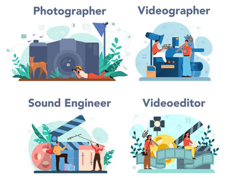 Video production, photography and sound engineering concept set. Media content industry. Making visual content for social media with special equipment. Isolated vector illustration
