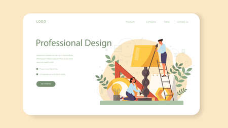 Industrial designer web banner or landing page. Artist creating modern environment object. Product usability design, manufacture development. Isolated vector illustration Vecteurs