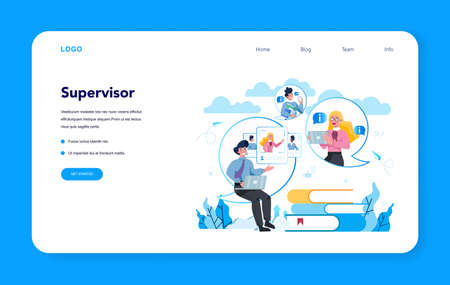Supervisor manager web banner or landing page. Specialist guiding employees with their task, coordinating job, organizing professional trainnig. Manager control job process. Vector illustration Иллюстрация