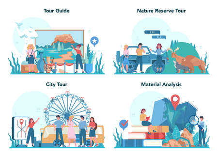 Tour vacation guide concept set. Tourists listening to the history of the city and attractions. Tour entertainment. Idea of traveling and learning. Isolated vector illustration