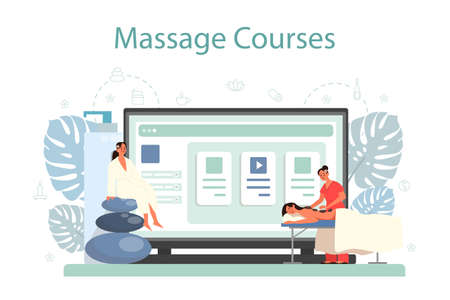 Massage and masseur online service or platform. Spa procedure