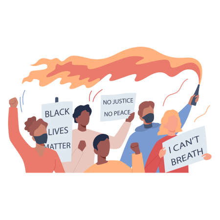 Black lives matter concept. Protester call for justice for black people. Police brutality riot. USA demonstration. Isolated vector illustration