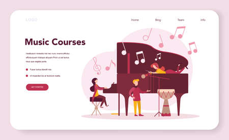 Musician and music course web banner or landing page. Young performer playing music with professional equipment. Talented musician playing musical instrumentss. Vector illustration.
