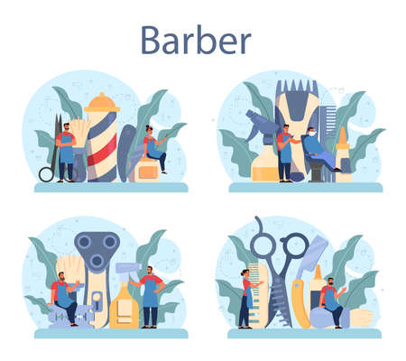 Barber concept set. Idea of hair and beard care. Scissors and brush, 写真素材 - 150461146