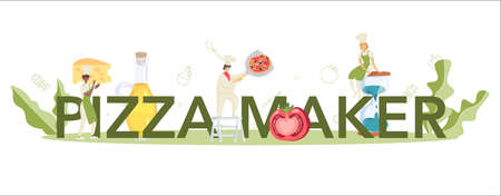 Pizza maker typographic header concept. Chef cooking tasty delicious