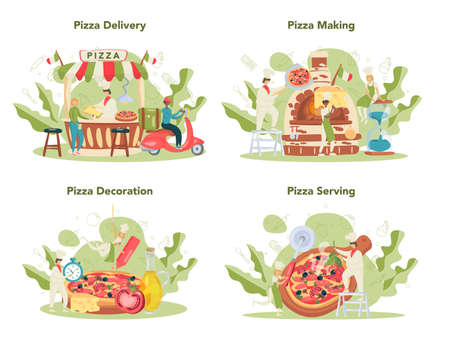 Pizzeria concept set. Chef cooking tasty delicious pizza. Italian food