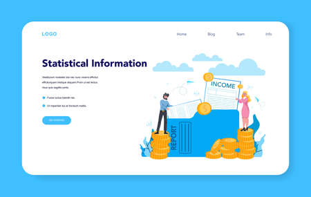 Statistician and statistic web banner or landing page. Specialist