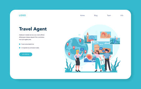 Travel agent web banner or landing page. Office worker selling