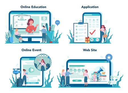 Event manager or service online service or platform set. Celebration or meeting organization. Online education, application, online event, web site. Isolated vector illustration