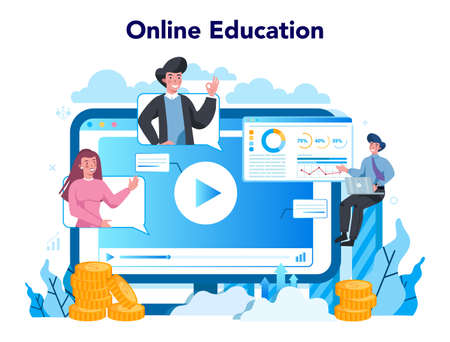 Statistician and statistic online service or platform. Specialist working with data analyzing, processing information. Online education. Isolated vector illustration Ilustracja