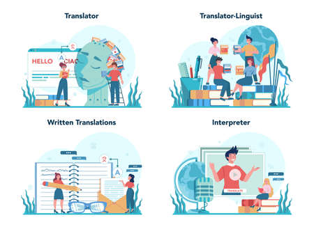 Translator and translation service concept set. Polyglot translating