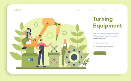 Turner or lathe web banner or landing page. Factory worker using