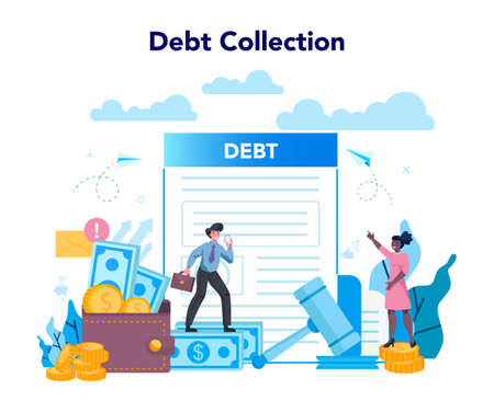 Debt collector concept. Pursuing payment of debt owed by person