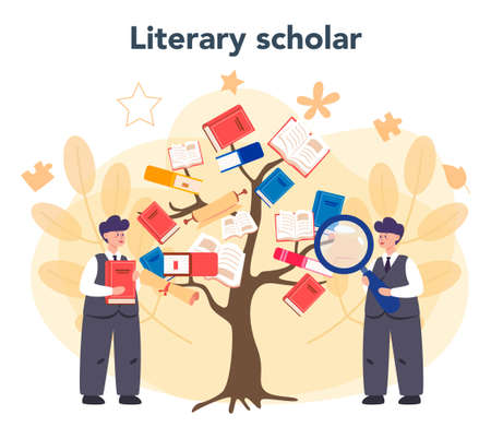 Professional literary scholar or critic concept. Scientist studying and research works of literature, history of literature, genres, and literary criticism. Flat vector illustration Illustration