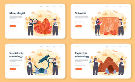 Mineralogist web banner or landing page set. Professional scientist studying natural stone and mineral. Stones for jewelry and chemical reaction. Isolated vector illustration  イラスト・ベクター素材